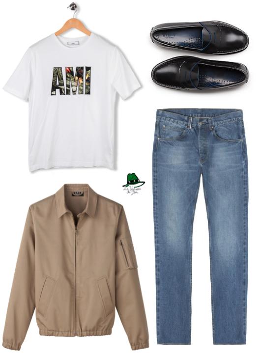 T-Shirt Ami Paris, Penny Loafer Bass, Jean Vintage Balibaris, Blouson Scooter A.P.C.