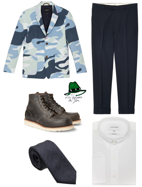 Veste Camouflage Commune de Paris, Pantalon Gant, Boots Red Wing, Cravate et Chemise (col anglais) Alain Figaret