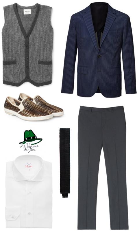 Cardigan NN.07, Blazer Club Monaco, Slip-On Rivieras, Pantalon de costume Balibaris, Cravate Husbands et Chemise Hast
